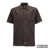 CHEMISE - DICKIES - 1574 - SHORT SLEEVE WORK SHIRT - COULEUR : DARK BROWN / MARRON FONCE - TAILLE XXL