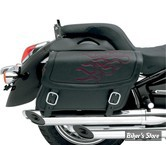 SACOCHES CAVALIERE - SADDLEMEN - HIGHWAYMAN TATTOO SADDLEBAGS - TAILLE : MEDIUM - COULEUR FLAMMES : ROUGE SOMBRE