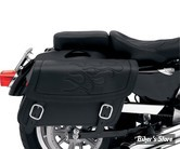SACOCHES CAVALIERE - SADDLEMEN - HIGHWAYMAN TATTOO SADDLEBAGS - TAILLE : LARGE - COULEUR FLAMMES : NOIR