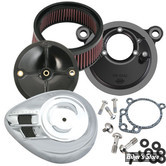 SS - KIT FILTRE A AIR SS - STEALTH - SPORTSTER 91/03 - AVEC CARBURATEUR S&S E OU G - AVEC CACHE : AIRSTREAM / CHROME