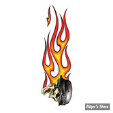 "AUTOCOLLANT / DECAL - LETHAL THREAT - FLAMING BIKER SKULL RT DECAL - TAILLE : 3"" X 10"" ( 7.60 CM X 25 CM )"