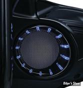 GRILLES DE HAUT PARLEUR AVANT - TOURING 96/13 - KURYAKYN - BLUE LED SPEAKER BEZELS - CORPS : NOIR / ECLAIRAGE : LED BLEU - 7286