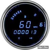 DD - COMPTEUR DIGITAL DAKOTA DIGITAL - PLUG IN - SPORTSTER/DYNA/SOFTAIL - LETTRAGE : BLEU / ENTOURAGE : CHROME