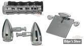 POIGNEES RBS - 84UP - STANDARD - AVEC CLIGNOTANTS LED + CLIGNOTANTS ARRIERE + SUPPORT D'IMMATRICULATION ET FEU - CHROME - LE KIT