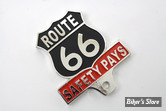 EMBLÊME D'ENTOURAGE DE PLAQUE D'IMMATRICULATION - ROUTE 66 LICENSE PLATE TOPPER