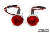 VIS - V-TWIN -  GLASS LICENSE PLATE REFLECTORS SET - COULEUR : ROUGE - AVEC ECLAIRAGE LED