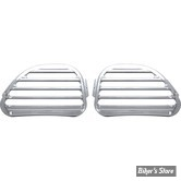 GRILLES DE HAUT PARLEUR AVANT - ROAD GLIDE 98/13 - COVINGTONS CUSTOMS - FINNED - CHROME