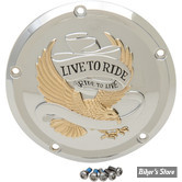 ECLATE I - PIECE N° 14 - COUVERCLE D EMBRAYAGE - TOURING 16UP / FLHTCUL/FLHTKL 15UP - LIVE TO RIDE - DRAG SPECIALTIES - CHROME / DORE
