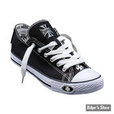 CHAUSSURES - WEST COAST CHOPPERS - WCC - BASKETS - WARRIOR LOW TOPS - COULEUR : NOIR / BLANC