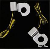1 - CLIGNOS HEINZ BIKES - NANO SERIES LED TURN SIGNALS  - V-ROD 02/17 - 1 FONCTION - CORPS CHROME / CABOCHON FUME - HBTSN-VRS02--C