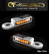 2 - CLIGNOS HEINZ BIKES - LED TURN SIGNALS FRONT - HD EMBRAYAGE HYDRAULIQUE - 2 FONCTIONS clignotant / Position - CHROME