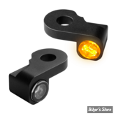 CLIGNOS HEINZ BIKES - NANO SERIES LED TURN SIGNALS  - V-ROD 02/17 - 2 FONCTIONS - CORPS NOIR / CABOCHON FUME