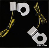 CLIGNOS HEINZ BIKES - NANO SERIES LED TURN SIGNALS  - V-ROD 02/17 - 2 FONCTIONS - CORPS CHROME / CABOCHON FUME