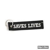 PORTE CLEFS - MCS - KEY RING LOUD PIPES SAVES LIVES - COULEUR : NOIR/BLANC