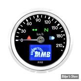 - MINI COMPTEUR ELECTRONIQUE MMB - ELT48 BASIC GENERATION 2 - 220 KM/H - FOND NOIR - CORPS CHROME - RÉTRO-ÉCLAIRAGE