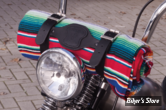 - COUVERTURE MEXICAINE - TEXAS LEATHER - MEXICAN BLANKET - TYPE : COZUMEL - SERAPE RED - COUVERTURE AVEC SUPPORT CUIR NOIR