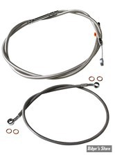 "+15"" / 17"" - KIT CABLES DE GUIDON RALLONGES - INDIAN SCOUT - LA CHOPPERS - ACIER INOX - LA-8400KT-16"
