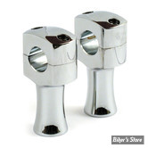 "Risers CUSTOM - SQUARE STYLE - Domed - MCS - 3"" - CHROME"