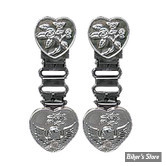 CLIPS DE PANTALON - RYDER CLIPS - HEART / SKULL CHROME