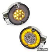 CLIGNOTANT FL01/13 / SOFTAIL FL 99/13 - AVANT - LED - RINGERS LED TURN SIGNALS - DOUBLE FILAMENT - CORPS : CHROME / CABOCHON : FUME