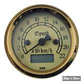 - Mini Compteur Electronique MMB Classic - Fond ivoire - corps chrome / entourage Gold