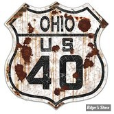 PLAQUE MURALE - ROUTE 66 - OHIO US 40 - DSP-1036 - DIMENSION : 38.10 CM X 38.10 CM