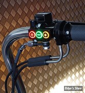 R/ COMMANDE DE GUIDON REBUFFINI - RR90 Radial hand controls set - Softail 11/17 / Dyna 12/17 - CABLE - NOIR ANODISE