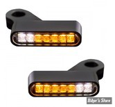 CLIGNOS HEINZ BIKES - LED Turn Signals Front - DYNA/SOFTAIL/TOURING 96> - 2 FONCTIONS clignotant / Position - NOIR