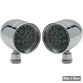 CLIGNOTANT A LEDS - LAZERSTAR LIGHTS - MICRO B - LED / DOUBLE FONCTIONS - CHROME - ECLAIRAGE : ORANGE