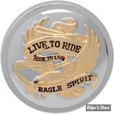 """BOUCHON 83/95 - """"LIVE TO RIDE"""" - CHROME / DORE - NON VENTILE"""