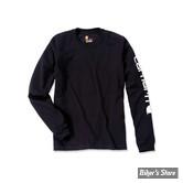 TEE-SHIRT MANCHES LONGUES - CARHARTT - SLEEVE LOGO T-SHIRT L/S - COULEUR : BLACK / NOIR