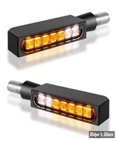 CLIGNOS HEINZ BIKES - Blokk-Line Series LED Turn Signals / Positionlight - 2 FONCTIONS - CORPS NOIR / CABOCHON FUME