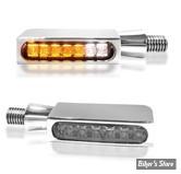 CLIGNOS HEINZ BIKES - Blokk-Line Series LED Turn Signals / Positionlight - 2 FONCTIONS - CORPS CHROME/ CABOCHON FUME