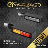 CLIGNOTANT A LEDS - HEINZ BIKES - Blokk-Line Series LED Turn Signals / Positionlight / Stop - 3 FONCTIONS - CORPS NOIR / CABOCHON FUME