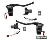 R/ COMMANDE DE GUIDON REBUFFINI - RR90 Radial hand controls set - Softail 11/17 / Dyna 12/17 - HYDRAULIQUE - NOIR ANODISE