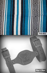 - COUVERTURE MEXICAINE - TEXAS LEATHER - MEXICAN BLANKET - TYPE : VERACRUZ  - bleu nuit, turquoise & blanc - COUVERTURE AVEC SUPPORT CUIR NOIR