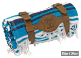 - COUVERTURE MEXICAINE - TEXAS LEATHER - MEXICAN BLANKET - TYPE : VERACRUZ  - bleu nuit, turquoise & blanc - COUVERTURE AVEC SUPPORT CUIR MARRON