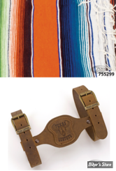 - COUVERTURE MEXICAINE - TEXAS LEATHER - MEXICAN BLANKET - TYPE : COZUMEL  - ORANGE PONCHO - COUVERTURE AVEC SUPPORT CUIR MARRON