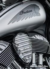 CACHE KLAXON - INDIAN 14/17 - ARLEN NESS - NESS FINNED HORN COVER - CHROME - I-1233