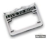 """Entourage de plaque chromé """"Live To Ride"""", format US 17.5cm x 10cm"""