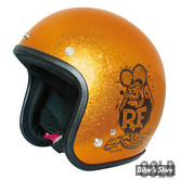 CASQUE JET -  MOONEYES - RAT FINK - COULEUR : METAL FLAKE OR - TAILLE 7-1/2