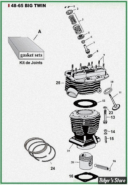 ECLATE G - PIECE N° 00 - ECLATE PIECES CYLINDRES ET CULASSE - PANHEAD 48/65