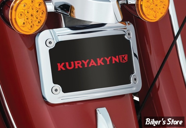 - SUPPORT / ENTOURAGE DE PLAQUE - KURYAKYN - L.E.D. Curved License Plate Frame with Mount for Indian - INDIAN - CHROME - 5699