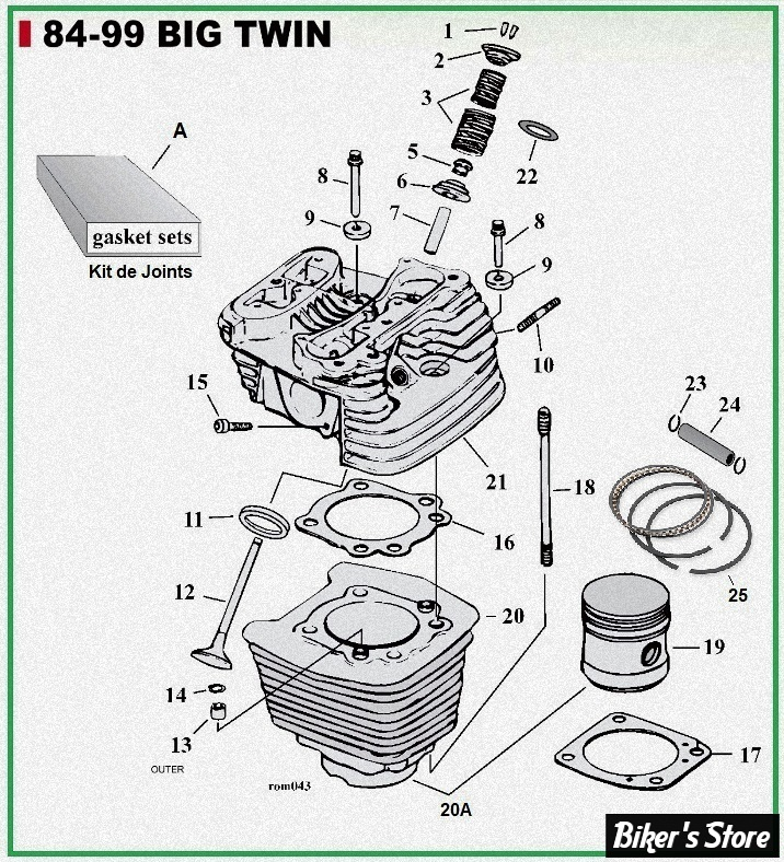 ECLATE G - PIECE N° 00 - ECLATE PIECES CYLINDRES ET CULASSE - BIGTWIN 1340 84/99