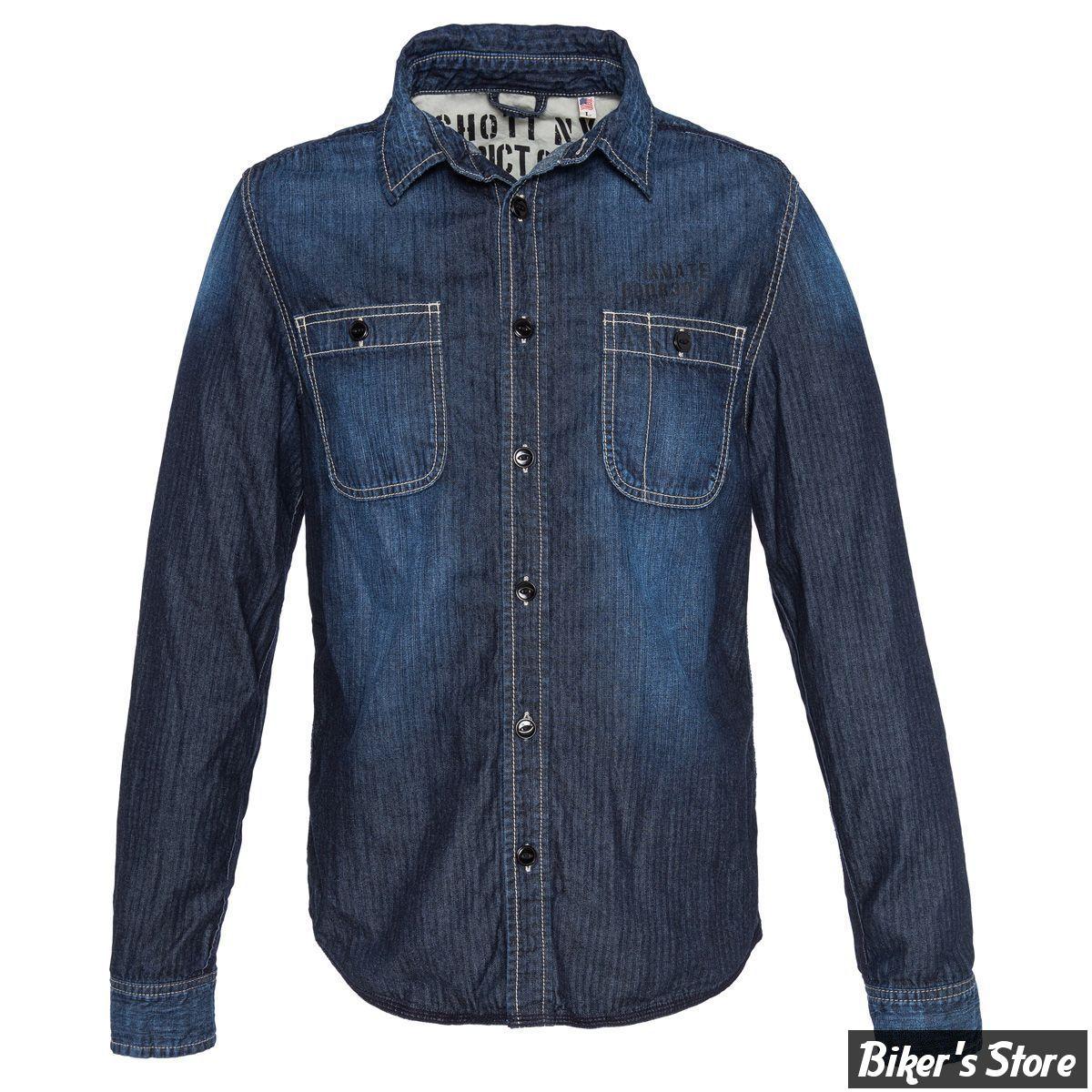 chemise manches longues schott alcatraz ml couleur bleu taille l biker 39 s store. Black Bedroom Furniture Sets. Home Design Ideas
