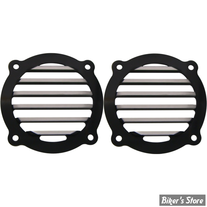 GRILLES DE HAUT PARLEUR AVANT - TOURING 96/13 - COVINGTONS CUSTOMS - FINNED - NOIR