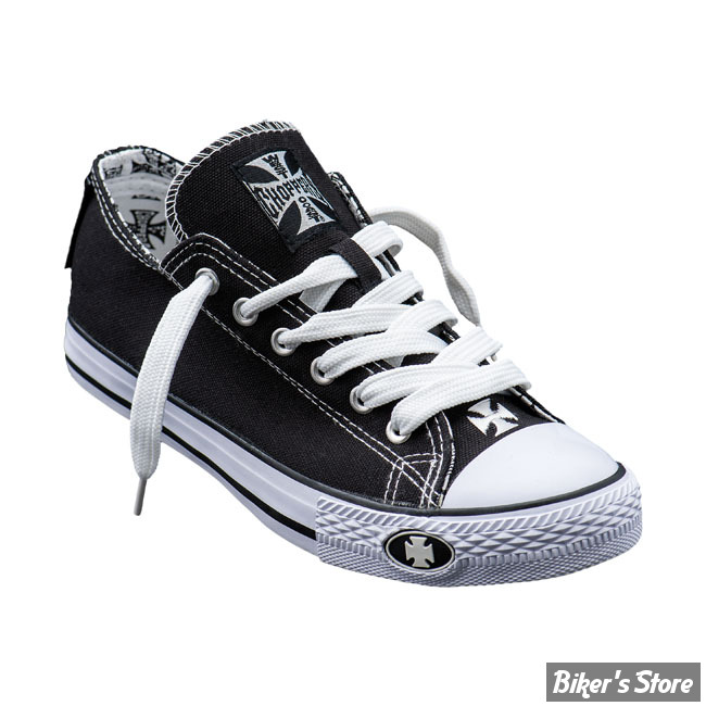 CHAUSSURES - WEST COAST CHOPPERS - WCC - BASKETS - WARRIOR LOW TOPS - COULEUR : NOIR / BLANC - POINTURE 37