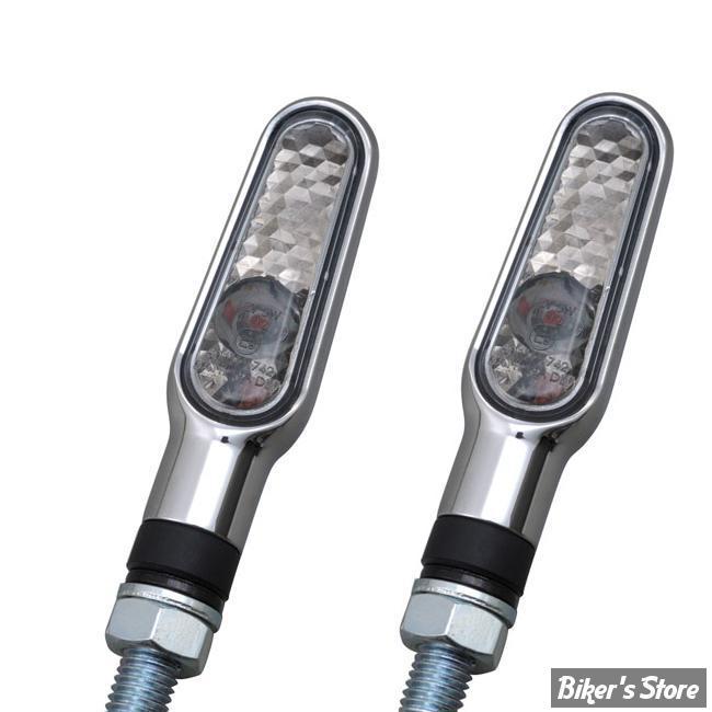 CLIGNOTANT A LEDS - DAYTONA - D-LIGHT TURN SIGNALS - CABOCHON : FUME / CORPS : CHROME