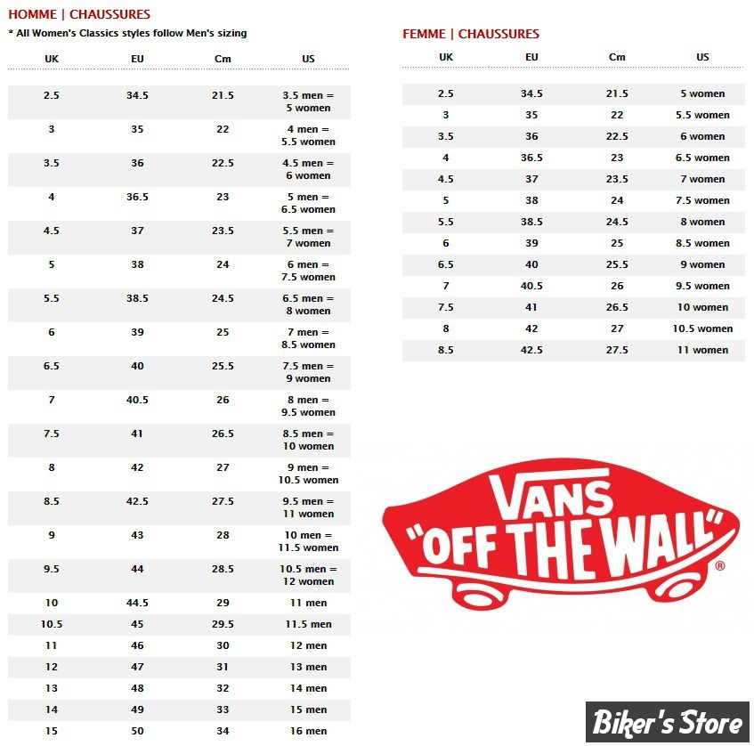 guide taille chaussure vans femme