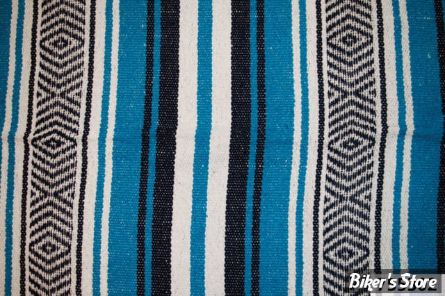 - COUVERTURE MEXICAINE - TEXAS LEATHER - MEXICAN BLANKET - TYPE : VERACRUZ  - bleu nuit, turquoise & blanc - COUVERTURE
